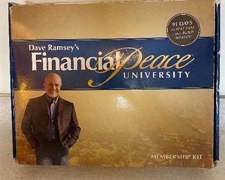 Dave Ramsey's Financial Peace University set. 13 DVD's, Hardback best-selling book, FPU Envelope System, Tip Cards, Debit Card Holders, Workbook, Budgeting Forms, two bonus CD-Roms. $25