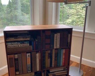 2 MCM Bookcase and Swing Arm Floor Lamp