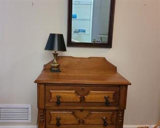 Antique Dry Sink, Mirror Lamp