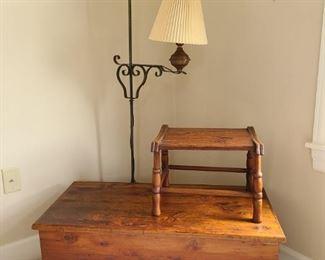 Cedar Chest, Lamp, and Step Stool