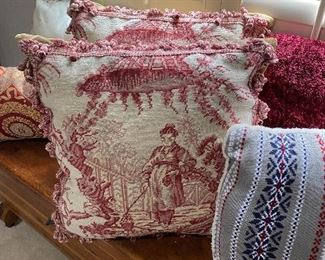 Pair of chinoiserie style needlepoint pillows