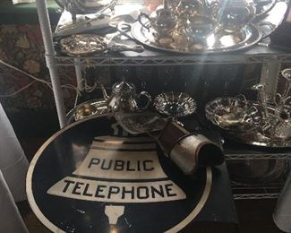 Sterling, silver plate, metal Sign, antique items
