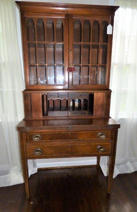 Antique Hepplewhite Secretary with sliding doors & fold-out writing surface.  With Key