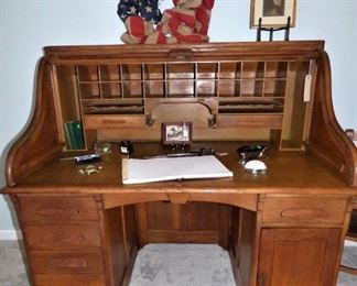 Antique Roll Top Oak Desk.  Came out of Old Dundee Mills.  With Key.  (See ledger on desk in next picture)