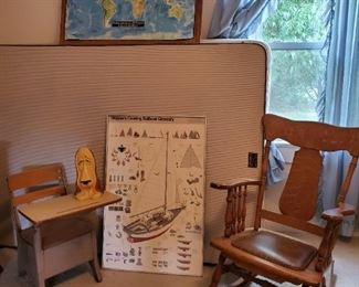 Childs Desk. Rocking chair with leather seat