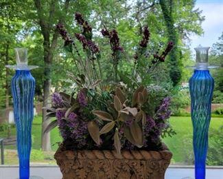 "Blue candlesticks - 17"" high; artificial lavender planter - 20"" high x 14"" wide x 8"" wide"