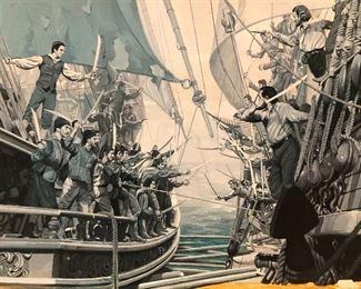 Antique seascape painting