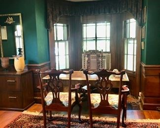 Antique library desk & chairs