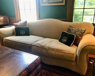 Vintage velvet Camelback sofa