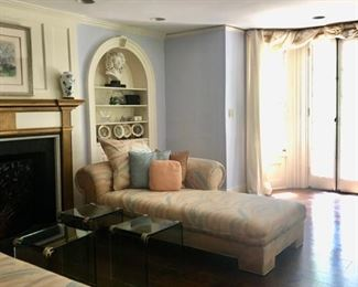 Pair vintage pastel chaise lounges