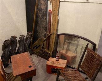 Piano guts, antique furniture