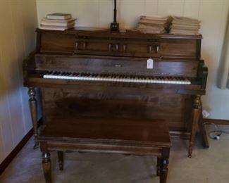 Piano, bench by Grand, sheet music, music books