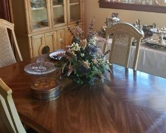Dining table, chairs, china cabinet, chandelier