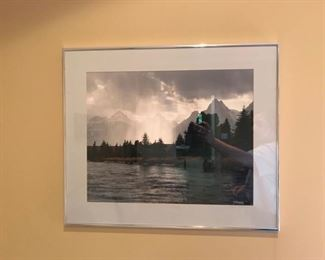 """Beautiful mountain and lake scene print done by our client. It measures 21"""" x 26"""". https://ctbids.com/#!/description/share/949824"""
