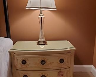 """Glass vase style lamp measures 7x31"""" shade 15"""" Small French Provincial style dresser with glass top measures 32x17x23"""". The 2 drawers measure 26x13x6"""". https://ctbids.com/#!/description/share/949839"""