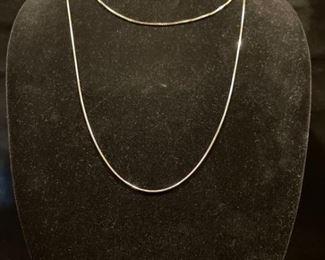 2 14K White Gold Chains