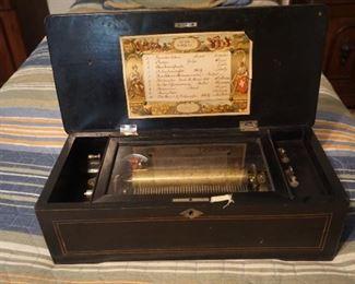 19th Century Antique Cylinder Music Box in Walnut Case Swiss
