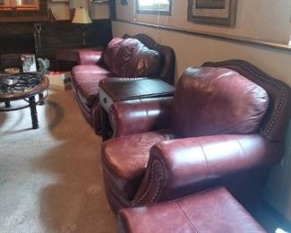 leather couch, chair, ottoman