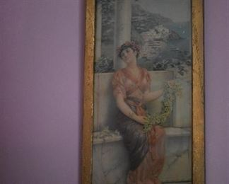 Antique Gold Framed Print of Grecian Girl sitting on Marble Bench