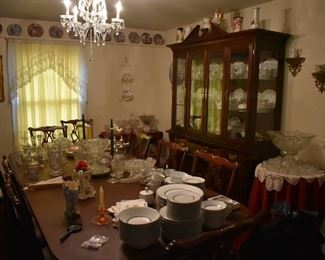 Antique Dining Room Furniture with matching Table, Chairs and China/Buffet plus Antique China and Corner Cabinets all full of Beautiful Antiques, Collectibles, China and More!