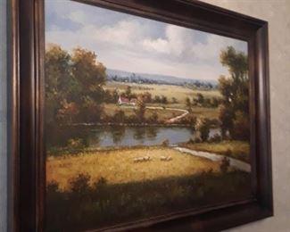 Framed landscape on canvas