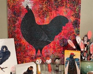 Original paintings, photo collages and objects created by Ande Cook, the artist is moving her studio. Lots of unusual arty creations.