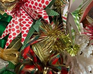 So.Much.Christmas stuff. ribbon. wraps. boxes. decor. vintage. ornaments. garland. tinsel
