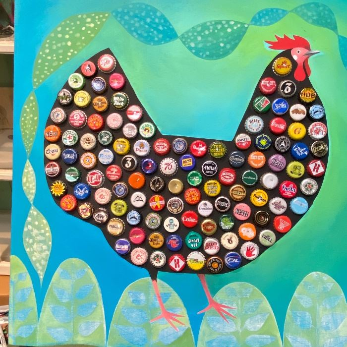 Fun folk art paintings like this bottle cap chicken with lots of vintage caps. 24x24