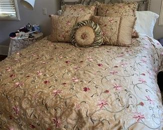 """$200 QUEEN SIZE BED WITH METAL HEADBOARD 84""""L x 60""""W x 51""""H $700 QUEEN CUSTOM MADE BEDDING"""