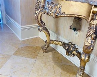 """$800 SET HALLWAY HALF-MOON MARBLE TOP WOOD GOLD TABLE WITH GRAPES 46""""L x 15""""D x 29""""H ORNATE FLORAL GOLD MIRROR 66""""L x 41.5""""W"""