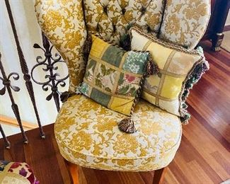 """$200 EACH TWO YELLOW / BEIGE FLORAL TUFTED WINGBACK ARMLESS CHAIRS 26.5""""W x 25.5""""D x 36.5""""H"""
