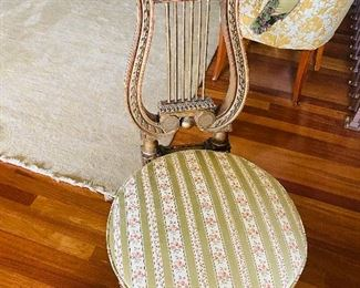 """$200 ROUND UPHOLSTERED HARP CHAIR 18.5""""W x 22""""D x 37.5""""H"""