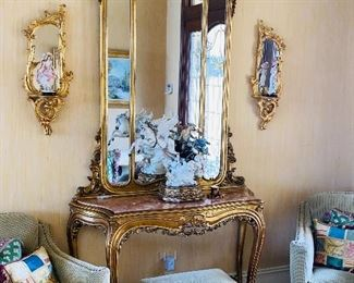 """$1,200 ORNATE GOLD HALLWAY TABLE WITH MIRROR 52""""L x 17""""D x 103""""H"""