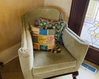 """$325 WOODEN FRAME UPHOLSTERED CHAIR WITH OTTOMAN  29.5""""W x 28""""D x 33.5""""H"""