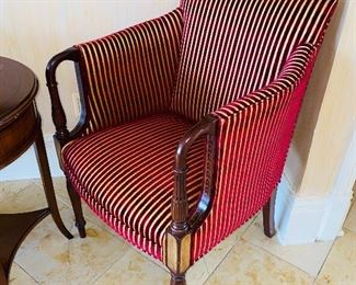 """$395 EACH 2 SOUTHWOOD WOODEN FRAME BURGUNDY AND GOLD STRIPE UPHOLSTERED CHAIR 24""""W x 23""""D x 36.5""""H"""