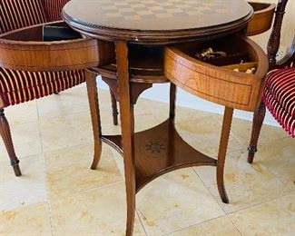 """$295 ROUND WOOD CHESS / GAME TABLE WITH 4 DRAWERS 21""""DIA x 28.5""""H"""