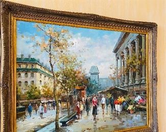 """$400 SIGNED FURTESER OIL ON CANVAS PAINTING 56.5""""L x 45""""H x 3.25""""D"""