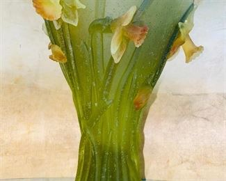 """$1,650 EACH DAUM NANCY LARGE JONQUILLE / DAFFODIL VASE 9 5/8"""" SIGNED -2 AVAILABLE"""