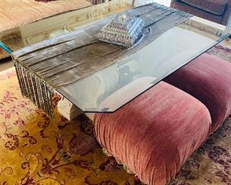 """$400 (SMALL ROUND CHIP ON TOP) DESIGN CENTER GLASS TOP TABLE 64""""L x 48""""W x 22.75""""H"""