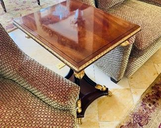 """$300 WOODEN LACQUER TABLE WITH BIRDS AND CLAW FEET (WHITE STAIN ON TOP) 23.5""""L x 20""""W x 27.5""""H"""