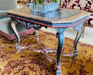 """$250 BLACK RED AND BLUE BIRD TABLE 41""""L x 26""""W x 27""""H"""