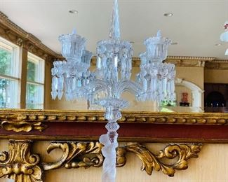 """$5,200 PAIR OF TOW LIGHTBACCARAT CRYSTAL ENFANT TWO LIGHT CANDELABRAS 23.5""""H x 14""""WIDTH"""
