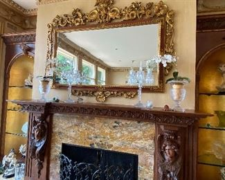 """$400 ANTIQUE ORNATE GOLD MIRROR ABOVE FIREPLACE(SOME CRACKS DUE TO AGE) 84""""L x 3""""D x 67""""H"""