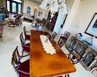 """$4,000 BAKER FURNITURE HISTORIC CHARLESTON REPRODUCTIONS DINING TABLE WITH 10 WILLIAM SWITZER FINE UPHOLSTERED CHAIRS TABLE WITH 2 LEAVES MEASURES 108""""L x 46""""W x 29.5""""H EACH LEAF MEASURES 20""""L x 46""""W CHAIR MEASURES 23.5""""W x 21.5""""D x 38""""H"""