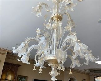 """$3,500 CLEAR AND GOLD GLASS CHANDELIER 80"""" LONG x 42""""DIA AND 2 CLEAR AND GOLD GLASS SCONES 24""""L x 19""""W RETAIL $7,000"""