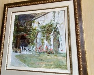 """$300 OIL ON CANVAS GARDEN WITH WHITE CHAIRS 46.5""""L x 46.5""""W"""