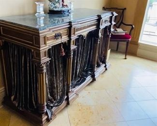 """$500 LONG BUFFET TABLE WITH MARBLE TOP AND VELVET CURTAINS 67""""L x 23.25""""D x 39.5""""H"""