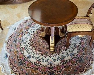 """$8,950 VERY UNIQUE HAND-MADE ROUND SILK AND WOOL RUG  88""""DIA"""