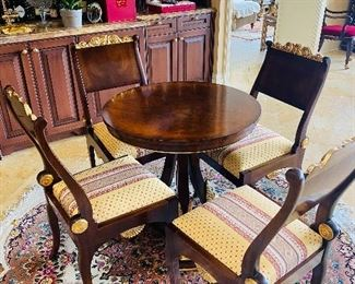 """$800 MAITLAND SMITH ROUND TABLE WITH 4 CHAIRS TABLE 30""""DIA x 31""""H CHAIR 20""""W x 19""""D x 39""""H"""