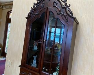 """$75 WALL DISPLAY CABINET SOLD AS IS ( missing wooden piece in the middle of glass ) 27""""L x 10""""D x 46.5""""H"""
